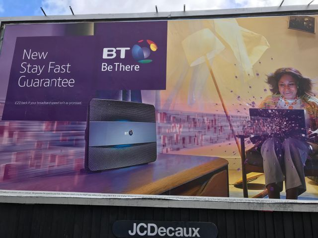 BT's Stay fast Guarantee Billboard